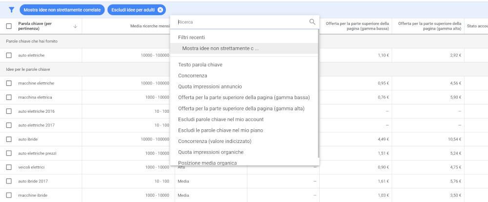 filtro di google keyword tool
